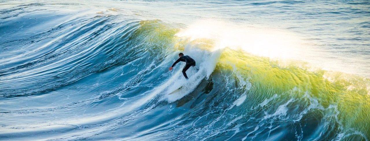 Surfer on big blue